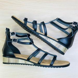 Chaps Olena Black Strappy Gladiator Sandals